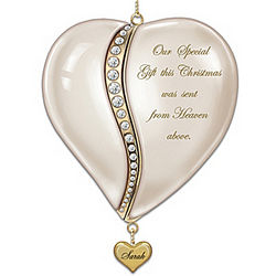 Personalized Heart-Shaped Baby's First Christmas Ornament