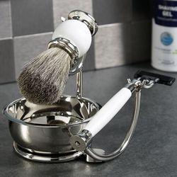 Dapper White Enamel Shaving Set