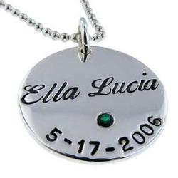 Personalized Name, Date, and Birthstone Silver Round Necklace