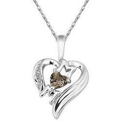 Heart-Shaped Smokey Quartz & Diamond 10K White Gold Mom Pendant