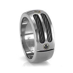 EM Sport Ring with Black Diamonds