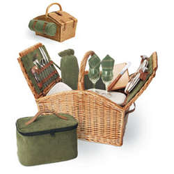 Somerset English Style Double Lid Picnic Basket for 2