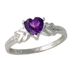 Diamond and Amethyst Heart Ring In 14K White Gold