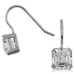Asscher Cut CZ Sterling Silver Dangle Earrings