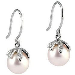 Freshwater Round Pink Pearl & Diamond Drop Earrings