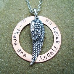 There Are Angels Among Us Hand Stamped Necklace