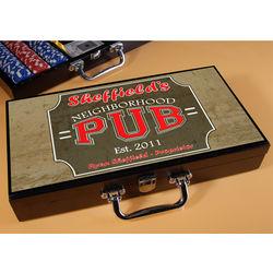 Personalized Poker Set with Neighborhood Pub Image