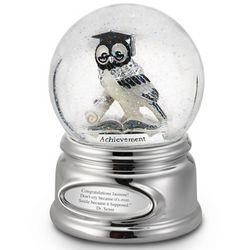 Engravable Graduation Owl Snow Globe