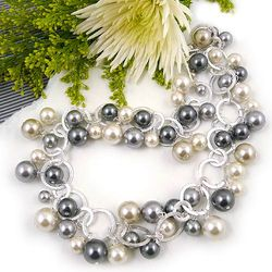 Glass Pearl Confetti Necklace & Bracelet Set