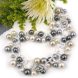 Glass Pearl Confetti Necklace & Bracelet Set