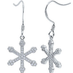 Micro Pavé CZ and Sterling Silver Snowflake Earrings