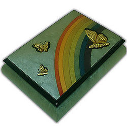 Light Blue Butterfly and Rainbow Musical Jewelry Box