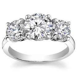 0.50 Ct. D SI2 Round Three Stone Diamond Ring