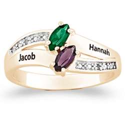 Couple's Name and Marquise Birthstone Diamond Ring