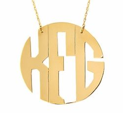 Mini Block Monogram Disc Necklace