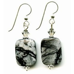 Gray Zebra Stone Earrings