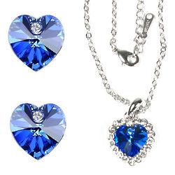Sapphire Blue Swarovski 18K Gold Jewelry Ensemble