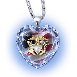 U.S. Navy Crystal Heart-Shaped Pendant