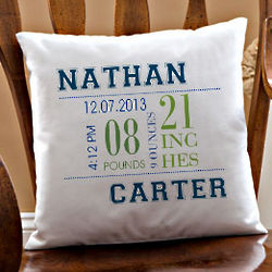 Baby Boy's Big Day Personalized Pillow