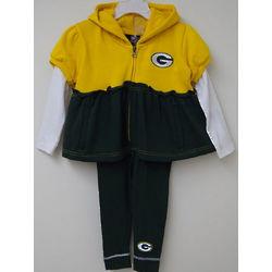 Toddler's Green Bay Packers Ruffled Hoodie And Leggings