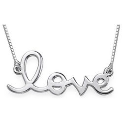 Silver Cursive Love Necklace