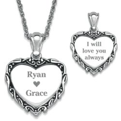 Silver Plated Ribbon Framed Couple's Heart Necklace