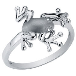 Diamond Frog Ring in Sterling Silver