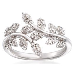 Diamond Laurel Leaf Bypass Ring in Sterling Silver