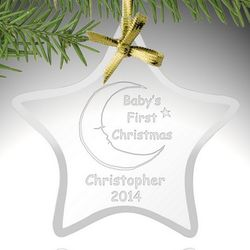 Baby's First Christmas Glass Star Ornament