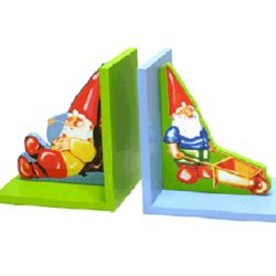 Carved Wood Painted Gnome Bookends