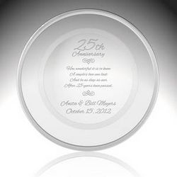 25th Wedding Anniversary Crystal and Platinum Plate
