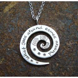 What Goes Around Comes Around Hand Stamped Spiral Necklace
