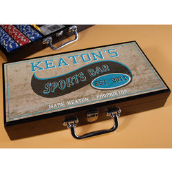 Personalized Poker Set with Sports Bar Image
