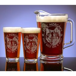 Personalized Wolf Theme Two Pint Glass and Pitcher Set