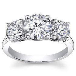 0.50 Ct. H SI2 Round Three Stone Diamond Ring
