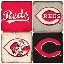 Cincinnati Reds Tumbled Italian Marble Coasters
