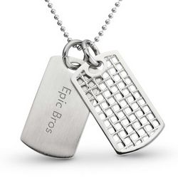 Silver Open Weave Dog Tag