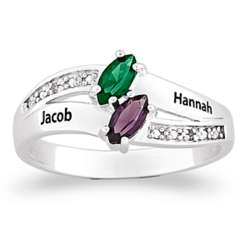 Sterling Silver Couple's Name and Birthstone Diamond Ring