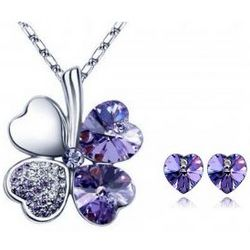Purple Lucky Sweethearts Gold Plated Swarovski Jewelry Ensemble