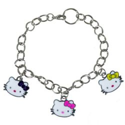 Tri-Color Enamel Kitty Charm Bracelet