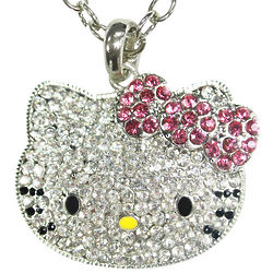 Small Kitty Face Crystal Pendant with Pink Bow