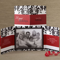 Personalized Photo Damask Gatefold Christmas Cards