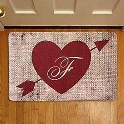 Personalized Burlap Heart Initial Doormat