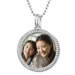 Sterling Silver Round Beaded Photo Necklace