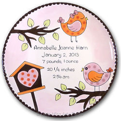 "Personalized Little Birdie 11"" Birth Announcement/New Baby Plate"