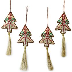 4 Silver Pine Beaded Ornaments