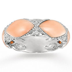 14k White Gold Diamond Marquise Coral Stackable Ring