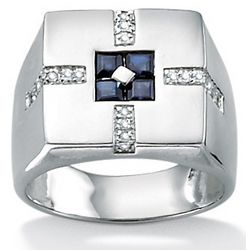 Men's Platinum-Plated Midnight Blue Sapphire and Diamond Ring