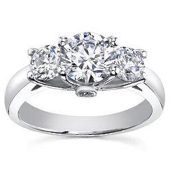 1.10 Ct. D VS2 Three Stone Diamond Ring