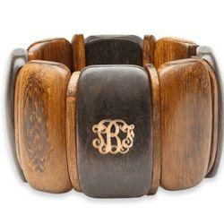 Monogrammed Wood Stretch Bracelet